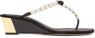 Rene Caovilla Embellished Leather Wedge Sandals - Black