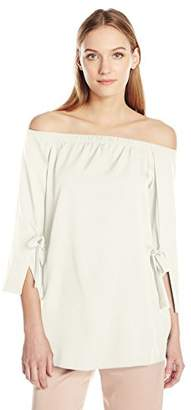 Halston Women's Long Sleeve Off Shoulder Boat Neck Top with Wide Cuff