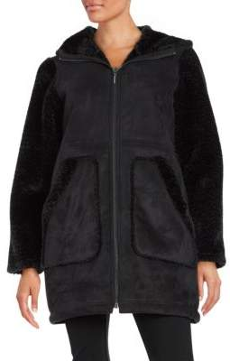 Gallery Hooded Faux Sherling Walker Coat