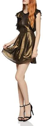 BCBGeneration Mesh-Inset Metallic Dress