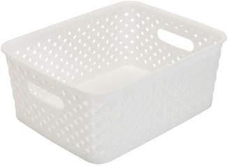 KENNEDY INTERNATIONAL Resin Wicker Storage Tote - White Small 10X8X4- Basket Weave