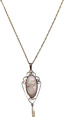 One Kings Lane Vintage 10K Angel Skin Coral Cameo Pendant