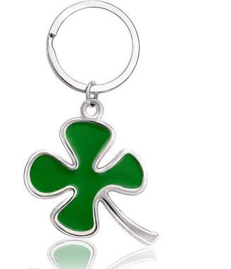 Fashionable ONLINE Silver and Green Four Leaf Clover Keychain