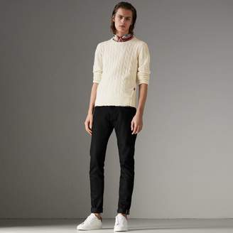 Burberry Cable Knit Cotton Cashmere Sweater , Size: XS, White
