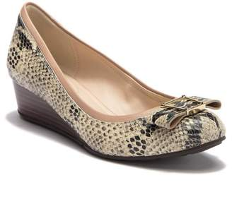 Cole Haan Emory Bow Snake-Embossed Leather Wedge Pump