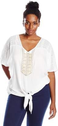 Karen Kane Women's Plus-Size Coronado Beaded Tie Front Top