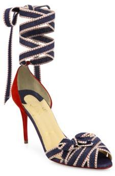Christian Louboutin  Christian Louboutin Christeriva Denim & Suede Ankle-Wrap d'Orsay Pumps