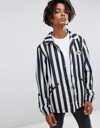 Volcom brews striped coach jacket in white