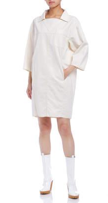 Maison Margiela (メゾン マルジェラ) - Maison Margiela 麻混 オーバーサイズ 八分袖 コクーンドレス ホワイト 36