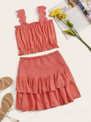 Shein Embroidered Eyelet Strap Top and Shirred Skirt Set