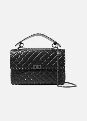Valentino Garavani The Rockstud Spike Medium Quilted Cracked-leather Shoulder Bag - Black