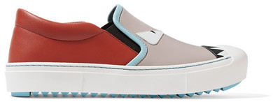 Fendi - Leather Slip-on Sneakers - Taupe