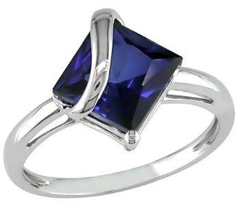 Square Sapphire Ring - Blue