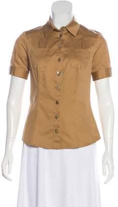 Salvatore Ferragamo Short Sleeve Button-Up Top