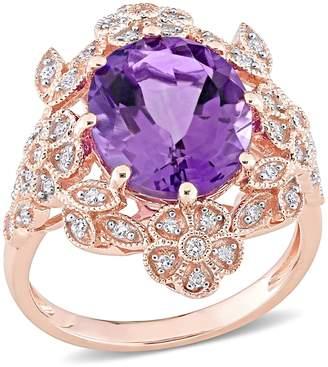 Bellini 4.00cttw Amethyst & 1/5cttw Diamond Vintage-Style Ring