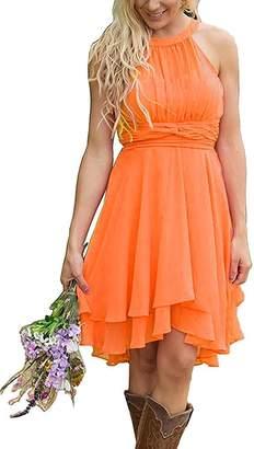 ThaliaDress Short Chiffon Halter Hi Lo Country Bridesmaid Dress Prom Gown T052LF US