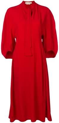 Marni neck-tied flared midi dress