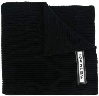 Yves Salomon ribbed logo scarf