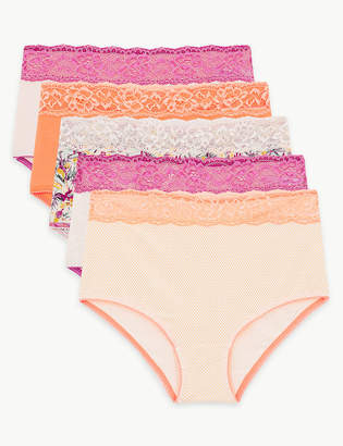 5e174e2ad675 M&S CollectionMarks and Spencer 5 Pack Cotton Rich Lace Full Brief Knickers