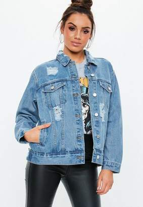 Missguided Petite Blue Light Wash Oversized Boyfriend Denim Jacket