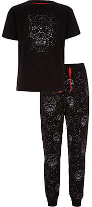 River Island Boys dark grey skull print studded pajama set
