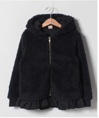 petit main (プティ マイン) - petit main 裾フリルボアフードジャケット