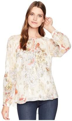 Hale Bob Mighty Aphroodite Floral Lurex Silk Chiffon Pandora Top Women's Clothing