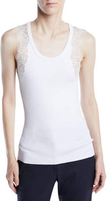 Calvin Klein Scoop-Neck Sleeveless Ribbed Tank w/ Lace Trim