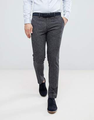Farah Smart Skinny Wedding Suit Pants In Charcoal Fleck