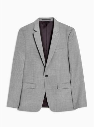 Topman Mens Mid Grey Gray Marl Skinny Fit Suit Jacket