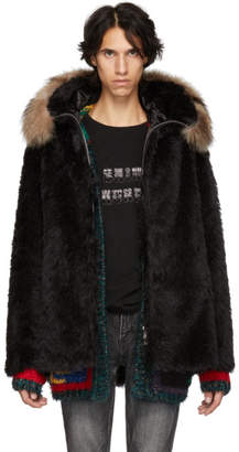 Saint Laurent Black Faux-Fur Jacket