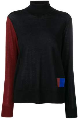 Calvin Klein colour-block turtleneck jumper