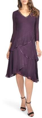 Komarov Embellished Tiered Chiffon A-Line Dress