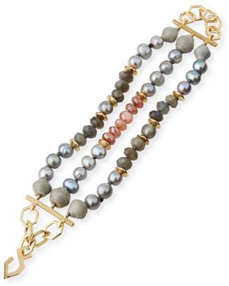 Akola Three-Strand Pearly Beaded Bracelet