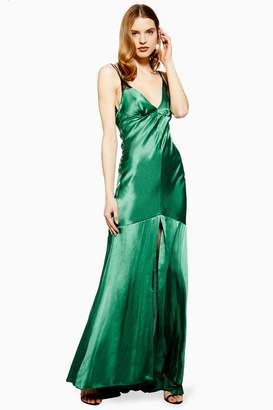 Topshop Lace Insert Satin Slip Maxi Dress