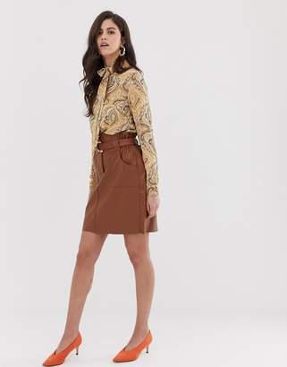 Vila faux leather paper bag waist skirt