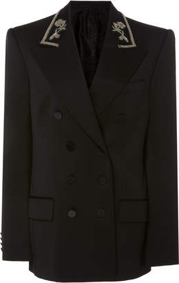 Burberry Priorslee Embroidered Wool-Blend Double-Breasted Jacket