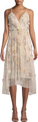 Elie Tahari Lisandra Floral-Applique Dress