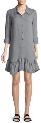 Halston Button-Front Collared Shirt Dress