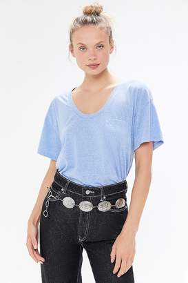 Truly Madly Deeply Scoop Neck Pocket Tunic Tee