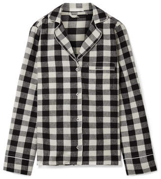 Skin - Lucienne Checked Cotton-flannel Pajama Shirt - Black