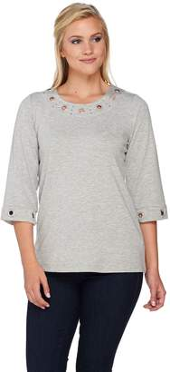 Factory Quacker Grommet 3/4 Sleeve T-shirt with Sleeve Detail