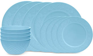 Godinger Dublin Blue 12-Piece Dinnerware Set, Service for 4