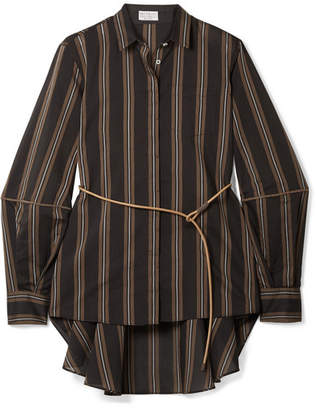 Brunello Cucinelli Belted Beaded Striped Cotton And Silk-blend Shirt