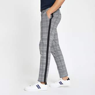 Mens Grey check tape skinny chino trousers