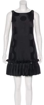 Marchesa Pleat-Accented Mini Dress