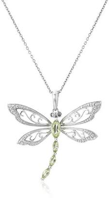 Sterling Peridot and Diamond Dragonfly Pendant Necklace (0.01 cttw