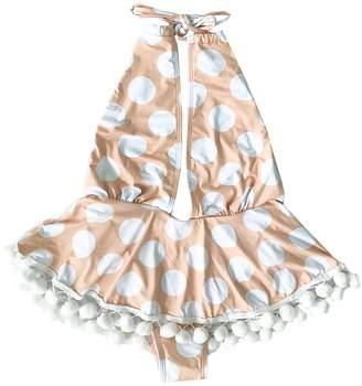 Goodnight Macaroon 'Klair' Polka Dot Ruffle Pom Pom Swimsuit
