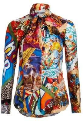 Moschino Multi-Print Tie-Neck Blouse