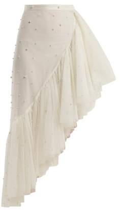 Rodarte - Asymmetric Pearl Embellished Ruffle Skirt - Womens - White